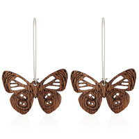 Diaethria Wooden Earring in African Mahogany
