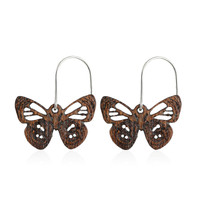Diaethria wooden Butterfly Earring in African Mahogany