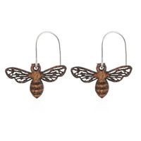 Honeybee Earring Small in African Mahogany