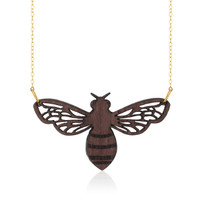 Honeybee Wooden Pendant in Purpleheart