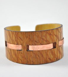 Taylor- Lacewood  and Copper Woven Wood Bracelet