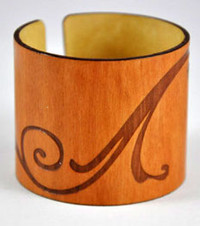 Elyse- Madrone Engraved Wood Wide Cuff Bracelet