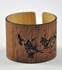 Zoe- African Mahogany Engraved Wood Cuff Bracelet