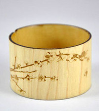 Cheri- Maple Engraved Wood Cuff Bracelet