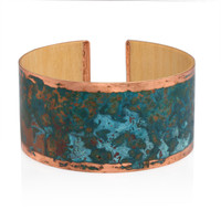 Turquoise- Handmade wooden bracelet with patinated copper on maple