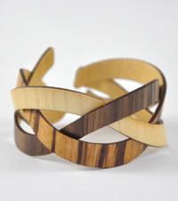 Trixie- Maple / Walnut / Zebra Braided Wood Bracelet
