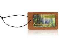 Ribbon Mahogany Wood Luggage Tag