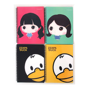 Zzapa duck and Mini doll twin wire lined notebook