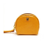 Yellow round mini wristlet