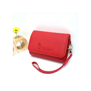 Red leather camera case