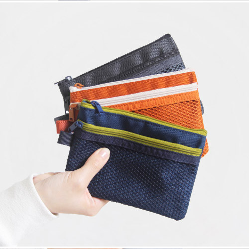 Dash and Dot Double pocket mesh zipper pouch small ...