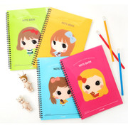 Wirebound cute girl lined notebook