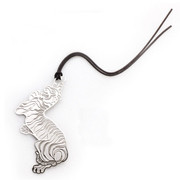 Platinum tiger silver plated bookmark