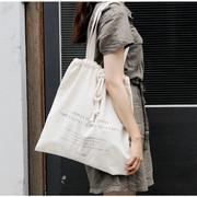 Cream ivory bucket eco drawstring tote bag