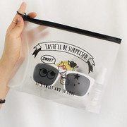 Hello translucent daily zip lock large pouch