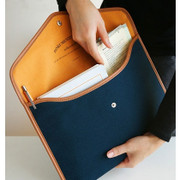 A4 canvas pouch - navy blue