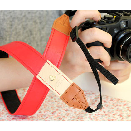 Alice camera strap - red and beige