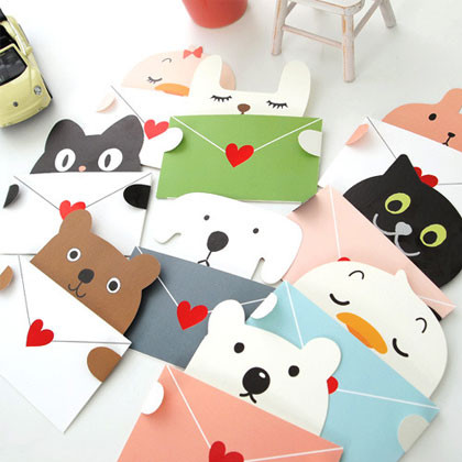Cute animal message card with envelope