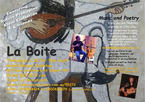 LA BOITE Music & Poetry
