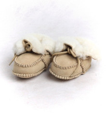Skinnys Sheepskin Baby Booties Natural