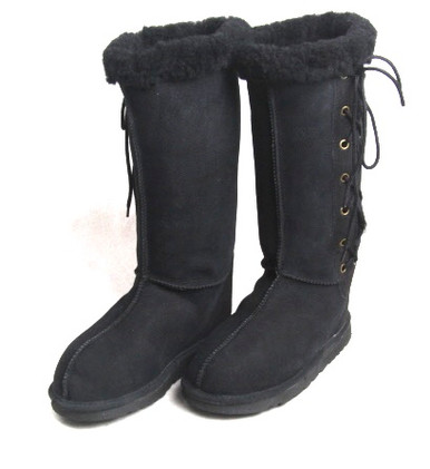 Skinnys Lace-Up Sheepskin Boot Black