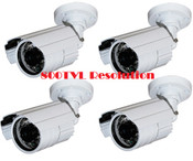 4 Pack 800TVL High Resolution Security Cameras