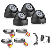 Vandal Proof Black 700 TVL Metal Dome Kit (4 Cameras), 65' IR, Cables & Power Supply