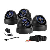 Vandal Proof Metal Dome Camera Kit - Black CCD 65' Night Vision - Includes 4/ea 60 foot cables & Power Supply