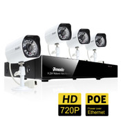 ZMODO 4 Channel Full HD PoE NVR Security System with 1TB Hard Drive and 4 HD 720P Cameras