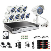 Zmodo KHI8-YARUZ8ZN-1T includes all necessary cameras, cables, power supplies, and accessories needed to get your CCTV system installed and recording.