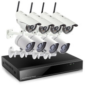 720P NVR w/4 Outdoor Wifi & 4 sPoE Network IP Cameras
