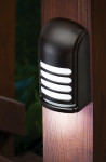 The Motion Deck Light provides area lighting for decks, porches, patios, paths, and steps, and will operate for a year or more on one set of batteries.