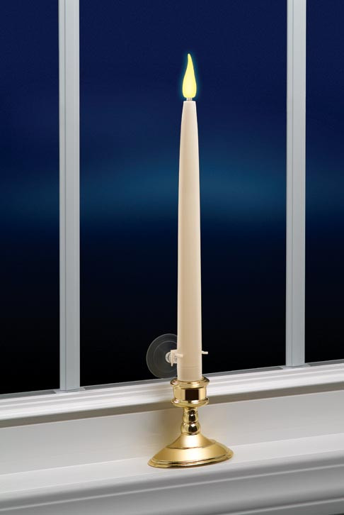 12 led taper candle led window candle with realistic flicker. Black Bedroom Furniture Sets. Home Design Ideas