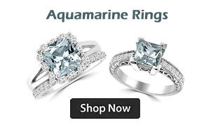 Blue Aquamarine Engagement Rings