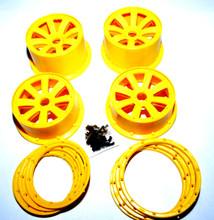 Yellow 8 spoke rim set for HPI baja