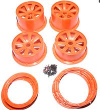 Orange 8 spoke rim set for HPI baja
