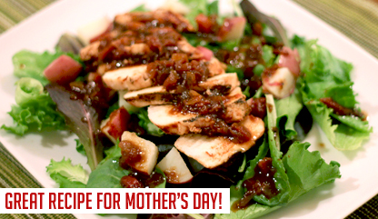 Raspberry Chicken with Baby Greens