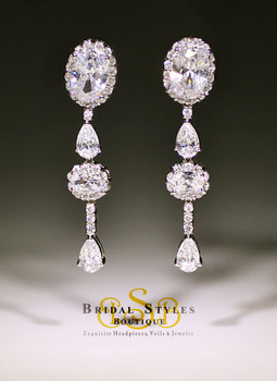 Classic Oval and Pear shaped CZ drop Earrings