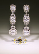 Art Deco CZ Three Stone Drop Earrings