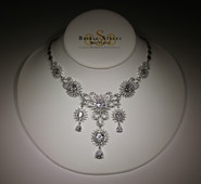 Elaborate CZ Star Burst Drop Necklace