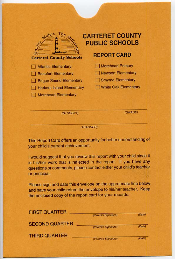 Report Card Envelope - Nationalschoolforms.Com