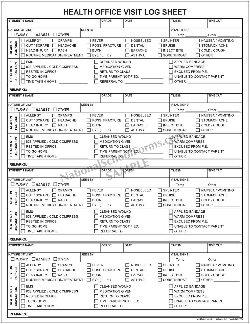 Health Office Visit Log Sheet Pad (240)