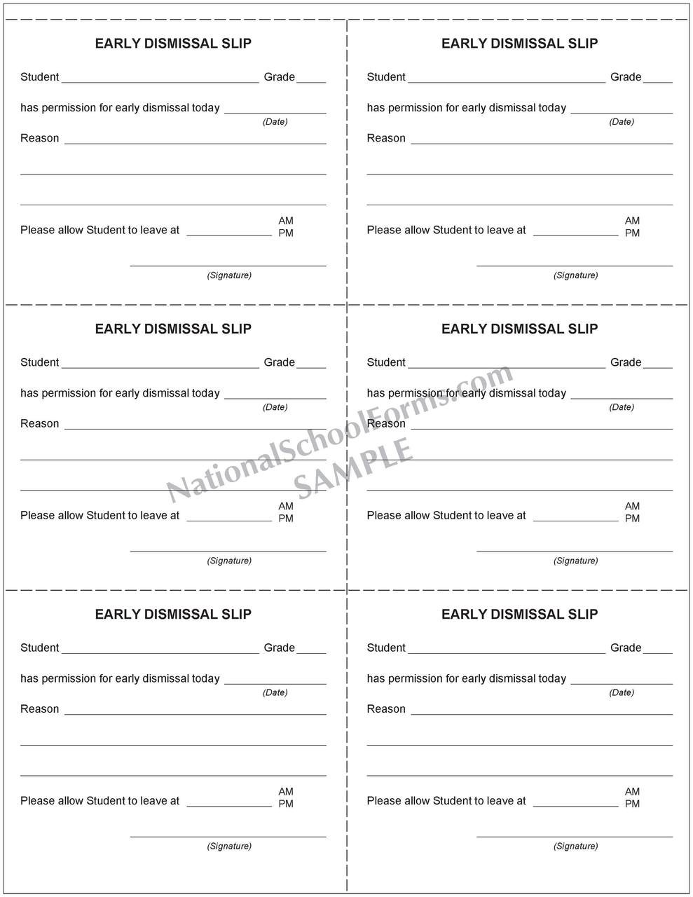 Early Dismissal Slip Booklet (248)
