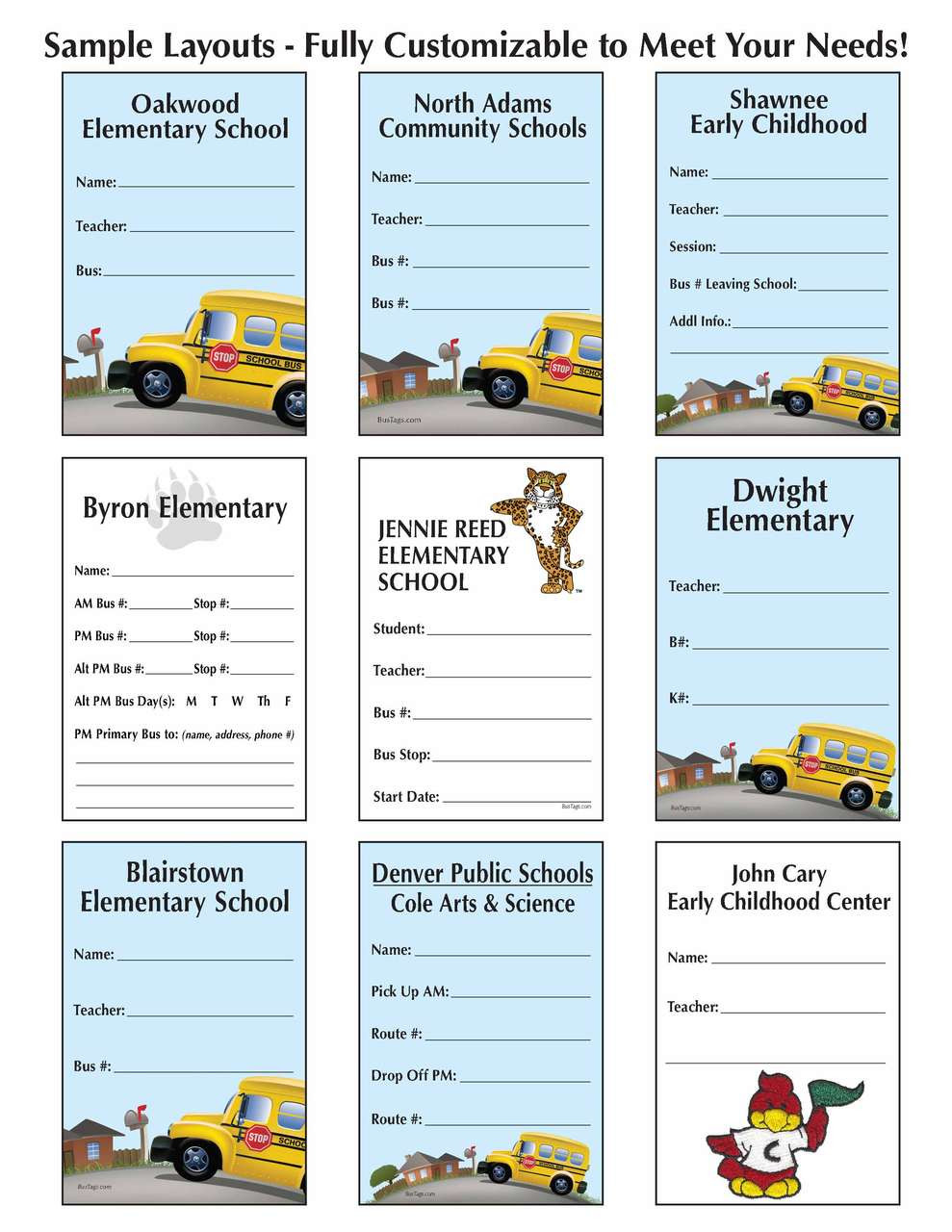 Student Bus Tag ID (446) Sample Sheet