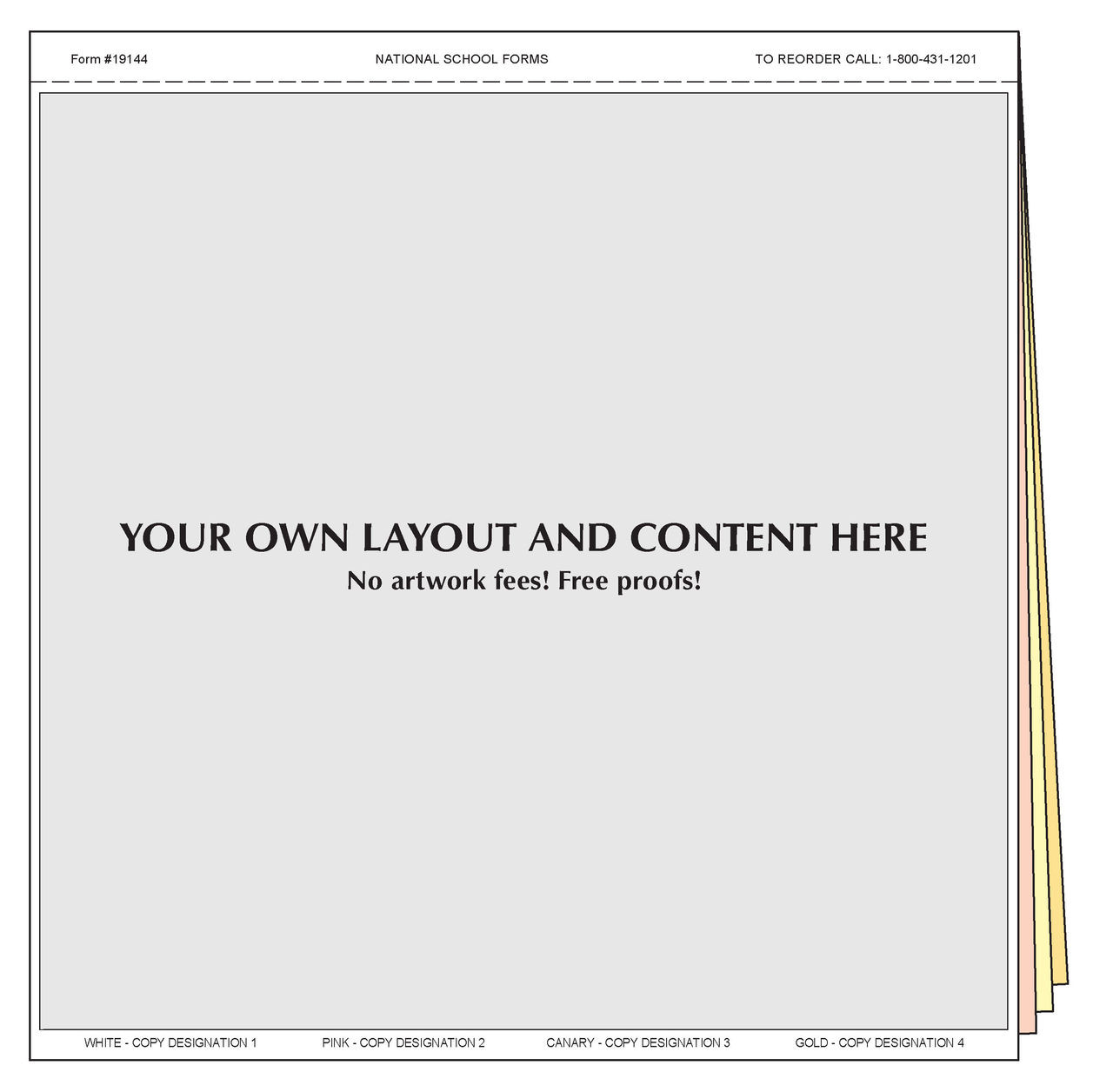 "#19144 - Customized Form - 8½"" x 8½"" - 4 Part"
