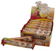 Zazers Kosher Tinny Taffy Peach Chewy Candy Gluten Free Display Box of 24 Bars of 5 Pieces