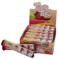 Zazers Kosher Tinny Taffy Strawberry Chewy Candy Gluten Free Display Box of 24 Bars of 5 Pieces