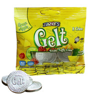 Zazers Gelt Fruity Taffy Coins Green Apple Flavored (Silver) - Bag of 8