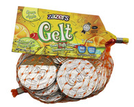 Zazers Gelt Fruity Taffy Coins Green Apple Flavored (Silver) - Mash Bag of 7