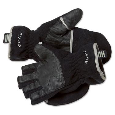 Orvis 33P4-105 Fleece Foldover Gloves-Black